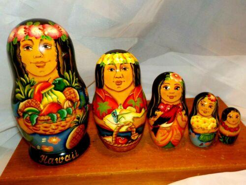 Hawaiian Themed Vintage Ukrainian or Russian Gypsy Matryoshka Nesting Dolls