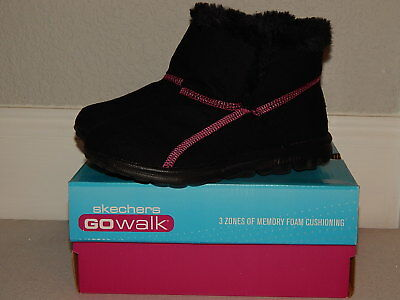 Skechers Go Walk Memory Form Fit Boots for Girls Black/Pink Kids Size 3](Go Go Boots For Girls)