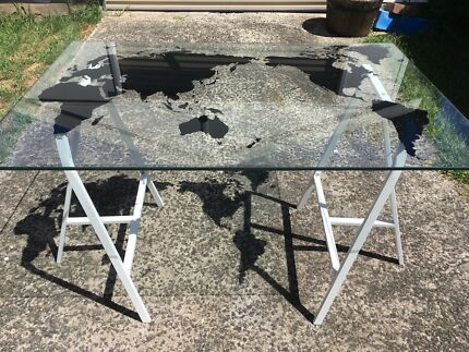 World map ikea desk desks gumtree australia penrith area desk glass with world map gumiabroncs Images