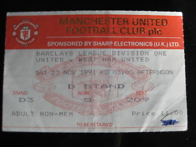 MANCHESTER UNITED v WEST HAM UNITED 23/11/1991 USED TICKET STUB