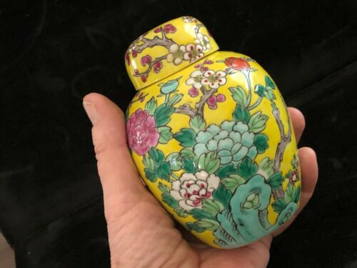 """Antique Nippon Japan Porcelain Cherry Blossom Branches on Yellow 5"""" Ginger Jar"""