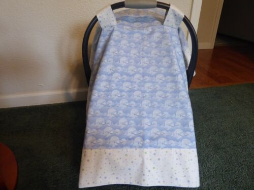 **WHALES** Handmade Baby Car Seat Canopy-Cover