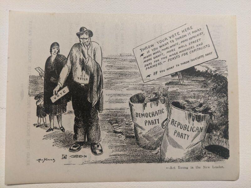 1932 Socialist Party, Thomas-Maurer, Handbill, mint condition, Arthur Young
