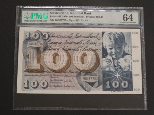 Switzerland 1970 100 Franken 100 Francs Banknote Pick# 49l PMG 64 CHOICE UNC