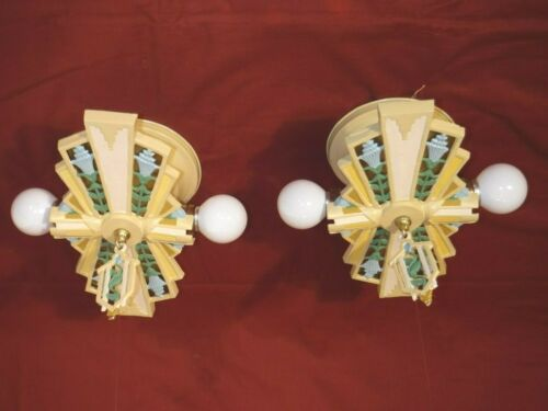 1930s ART DECO 2-LIGHT DROP MOUNT CHANDELIER PAIR - HALCOLITE