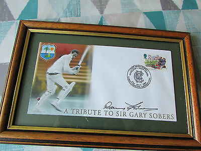 Framed Tribute to Sir Gary SOBERS Hand Signed Cricket FDC / Cover & Benham COA