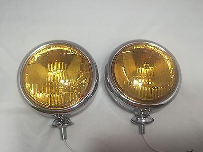 "Pair Vintage Style Amber Lens 5"" 12 Volt Fog Lights Lamps Car Truck Hot Rod"