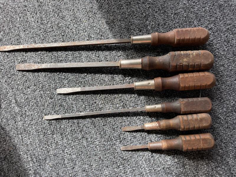 Vintage MAC Tools 6pc SABINA Wooden Handle Slotted Screwdriver Set