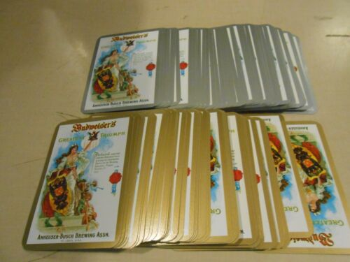Budweiser Greatest Triumph Anheuser Busch Playing Card Deck LOT Gold & Silver