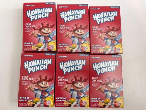 Hawaiian Punch Fruit Juicy Red Singles To Go Drink Mix  (LOT OF 6) Free shipping