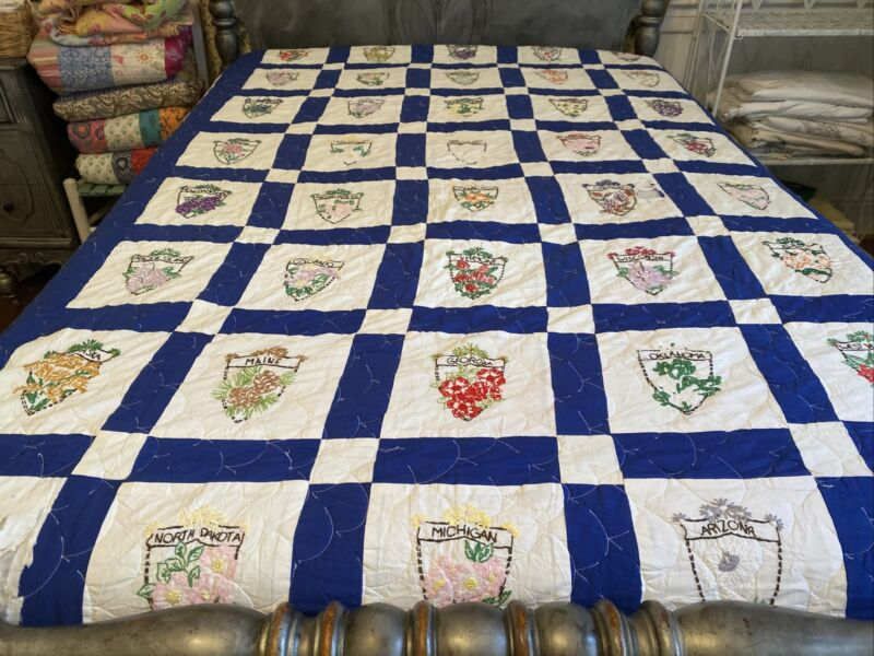 Handmade Embroidered Quilt - State Flowers