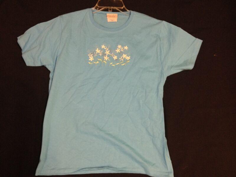 NWOT Light Blue T-Shirt w/ Embroidered White & Blue Flowers size Medium