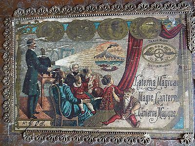 Laterna Magica mit 70 Glas-Schiebe-Bilder um 1890 mit Holzkasten, altes Original