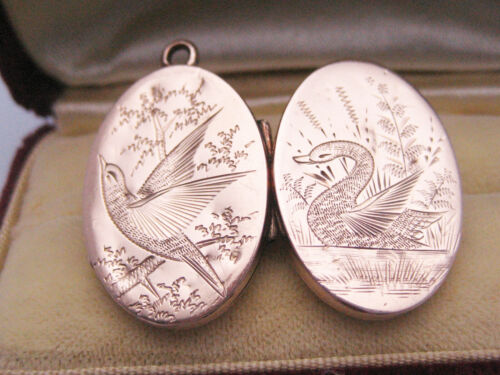 Antique Victorian Edwardian era 10K Yellow Gold Engrave Birds Photo Locket Fob