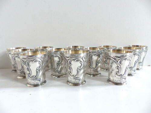 RARE SET of 12 CHRISTOFLE GALLIA SILVER PLATE GILT INTERIOR LIQUOR GOBLETS 1890s