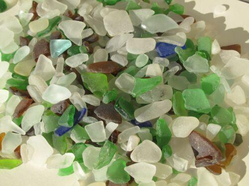 NATURAL Surf Tumbled Rough Sea Glass 0.85 lb Lot -  Various Sizes Craft Aquarium