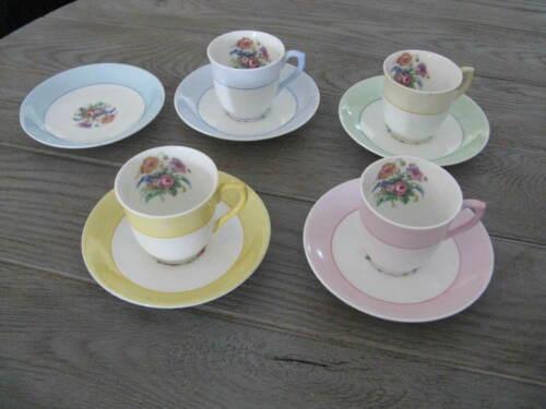 4 Demitasse Cup & Saucer Sets Colclough China Longton England Pastels/Florals