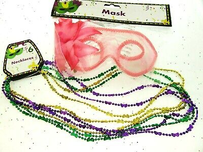 Mardi Gras Eye Mask & Necklaces Costume Mascaraed Parade New Orleans Party pink](Mardi Gras Parade Costumes)