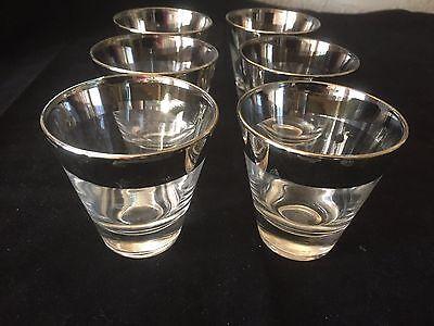 6 Vintage Mid Century Silver Band Rim Whiskey Brandy Shot Glasses Dorothy Thorpe