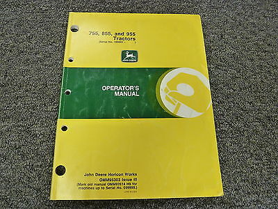 John Deere 755 855 955 Compact Utility Tractor Owner Operator Manual Omm95303