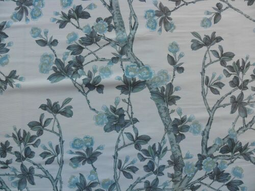 5YD SCALAMANDRE KNOLLWOOD FLOWERING TREE BLUE PEWTER SILK PRINT MSRP$216/Y