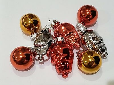Halloween Decorations Ornaments (Halloween MINI Skull GLASS Ornaments Decorations Set of)