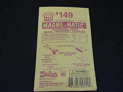 Kadee HO Scale Metal Knuckle Couplers - #149 Long Overset Whisker (2 pr)
