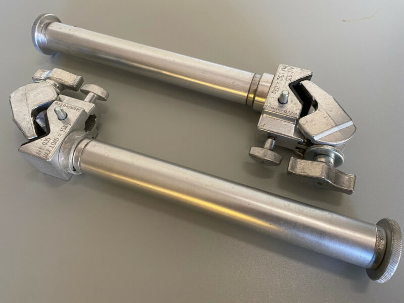 Lot TWO (2) Manfrotto ART .035 Super Clamp with Fixed AutoPole Tube Boom