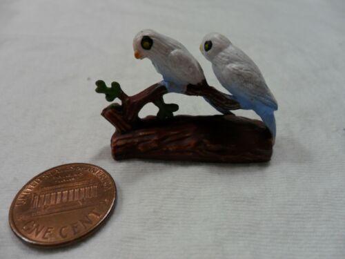 Vintage Miniature Blue Parrots on Branch
