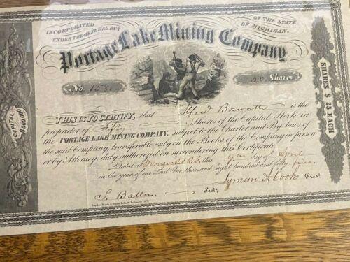 * Portage Lake Certificate Houghton Hancock Michigan Mine