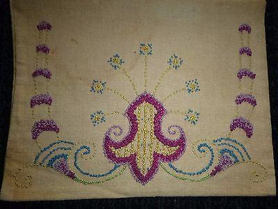 Vtg Hand Embroidered Lingerie Sachet Linen Bag Fleur De Lis Missing - Embroidered Sachet Bags