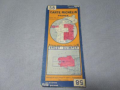 Card Michelin No 58 Brest-Quimper 1930/Collector Bibendum Vintage