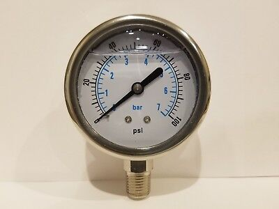 2-12 All Stainless Steel 304 Liquid Filled Pressure Gauge Wog 0-100 14 Npt