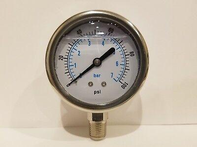 2-12 All Stainless Steel 304 Liquid Filled Pressure Gauge Wog 0-100 14 Npt