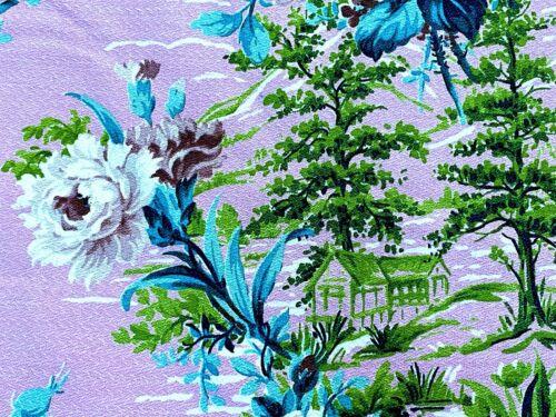 SALE! Pinky Pink & Aqua Roses Barkcloth Vintage Fabric Drape Curtain 1930