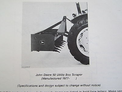 1979 Jd John Deere 50 Utility Tractor Box Scraper Parts Catalog Manual