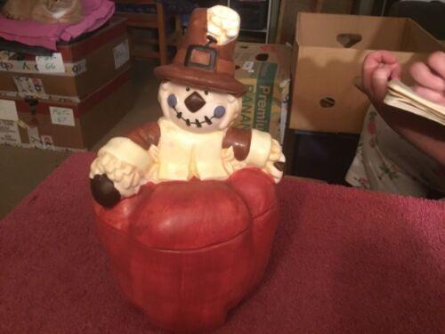 Scarecrow on a Pumpkin Ceramic Cookie Jar W.C.L.