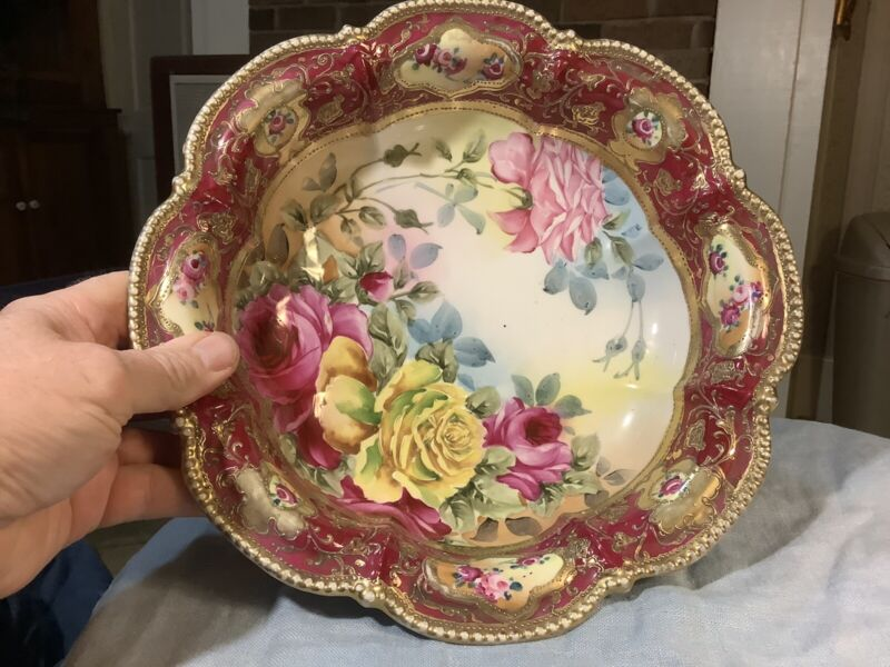 "Vintage Large Handpainted Floral Nippon Bowl 11.75"" Gilt Edge"