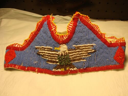 Vintage Beaded Princess Crown - w/ Eagle