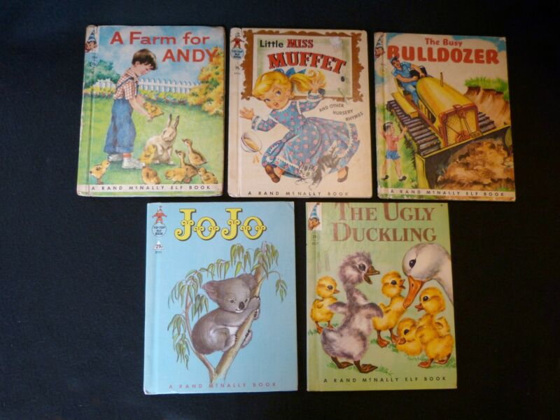 VINTAGE Rand McNally Elf books, FIVE, good or better condition