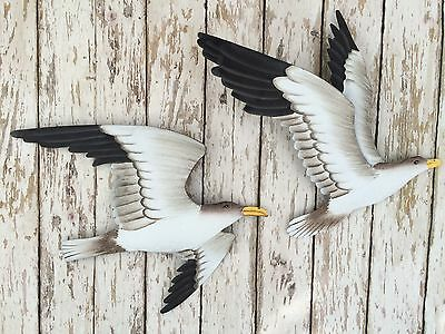(2) Metal Seagull Wall Plaques ~ Nautical Beach Decor ~ Shore - Metal Decorations