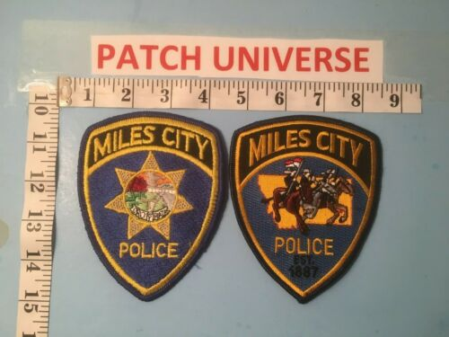 TWO DIFFERENT MILES CITY MONTANA POLICE  SHOULDER PATCHES  J049