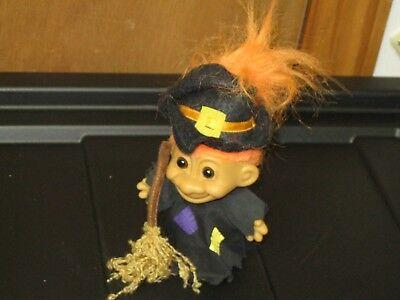 Russ Troll ORANGE Hair Brown Eyes Halloween WITCH Outfit w BROOM (Troll Doll Halloween Outfit)