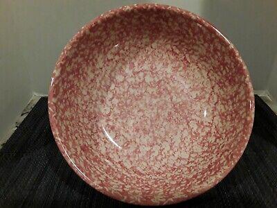 "Workshop of Gerald E. Henn 9 1/2"" Serving Bowl Pottery Pink Spongeware"
