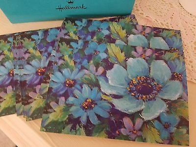 Vintage Hallmark Mod Retro 60's-70's Floral Aqua Note Cards & Envelopes Set 10