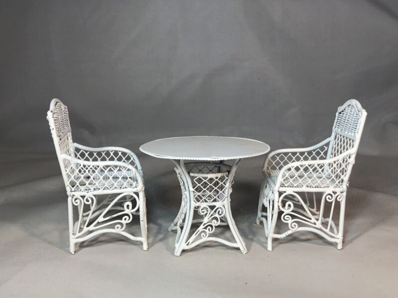 Dollhouse Miniature 1:12 Scale White Wire Wicker Table and 2 Chairs