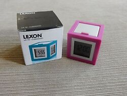 Lexon ABS/Aluminium Cubissimo LCD Luminous Alarm Clock MULTI FUNCTION PINK LR 79