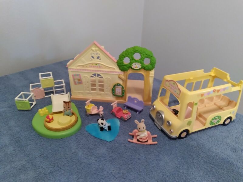 Sylvanian Families Calico Critters Forest Nursery & Bus Playset