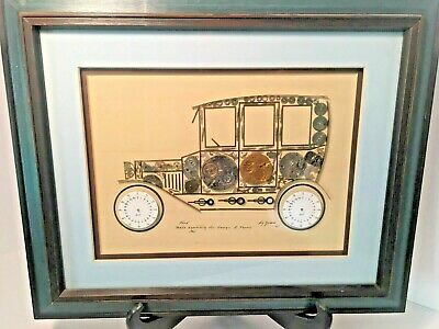 Vintage Signed By Girard Watch Part Steampunk Art Collage 1935 Ford