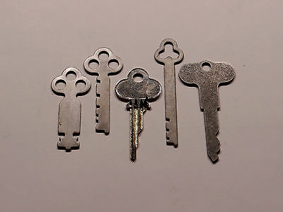 Antique National Cash Register Keys 1, 2, 3A, 5 & Reset Key 300/700 NCR!
